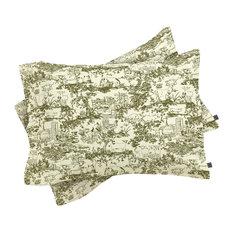 Rachelle Roberts Farm Land Toile In Vintage Green Pillow Shams, King