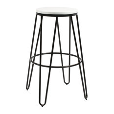 Tully Backless Wood And Metal Bar Stools Set Of 4 Black/White 17x17x30