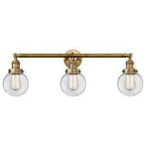 "3-Light Beacon 30"" Bath Fixture, Brushed Brass, Glass: Clear"