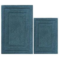 2-Piece Cotton Bath Rug Set, Mid Blue