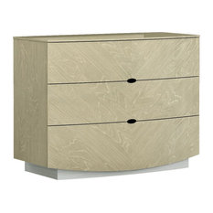 Curved Design Wooden Dresser With Trim Base And 3 Drawers Beige/White