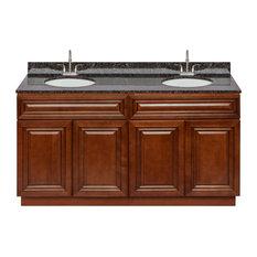 Brown Double Bathroom Vanity 60-inch Tan Brown Granite Top Faucet LB6B