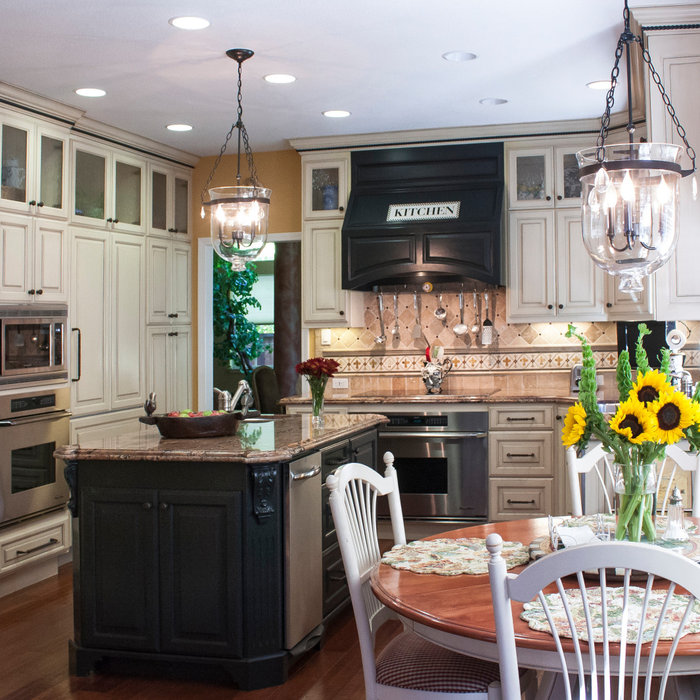Traditional White, Gold and Black Kitchen