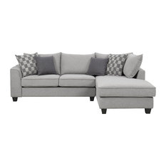 Emerald Home Adler Chaise Sectional, Pewter