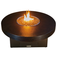 Hammered Copper Round Fire Pit Table, 48x18,Natural Gas