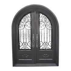 "Celosa 72""x96"" Wrought Iron Door, 8"" Jamb, Aged Bronze Patina, Left Hand"