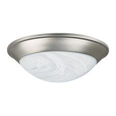 One Light Twist-On Flush Mount Satin Nickel Faux Alabaster Glass