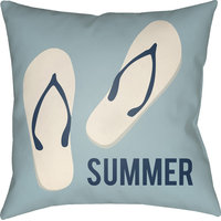 "Litchfield Summer Pillow, Light Blue, Ivory, 18""x18"""