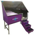 """Groomer's Best - Elite Dog Wash, Purple, 58"""", Left Drain - Groomers Best Elite Bathing Tub is top of the line.  Featuring a fully welded design and double sealed.  Our textured coating protects your tub and guarantees no leaking or rusting, and can also be ordered in a color to match your decor.  Includes Lift & Slide steps that allow the animals ease of access and smoothly slide underneath the tub for your convenience.  Removable raised tray is great for small dogs! No assembly required, wash tub ships ready to install!  Easy to use and maintain!"""