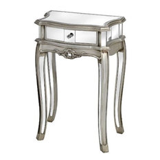 Argente Mirrored 1-Drawer Lamp Table, Silver