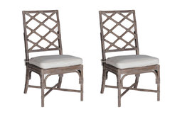 Gabby Kennedy Rattan and Linen Chairs, Set of 2