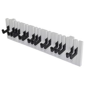 VidaXL Keyboard Design Wall-Mounted 16 Hook Coat Rack, Black