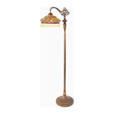 "60"" Stained Glass Parisian Side Arm Floor Lamp"