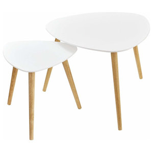 Modern Stylish Coffee Tables, Painted MDF Top, Set of 2, White