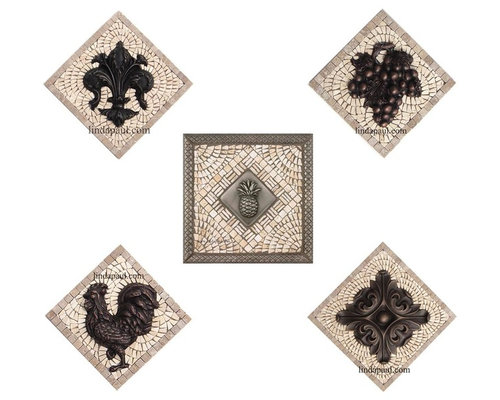 Small Kitchen Backsplash Mosaic Tile And Metal Medallions And Accent Tiles Mosaic Tile