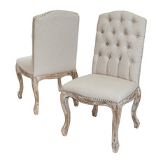 GDFStudio   Jolie Linen Dining Chairs, Beige, Set Of 2   Dining Chairs