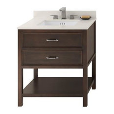"Ronbow Newcastle Solid Wood 30"" Vanity Cabinet Base, Cafe Walnut"