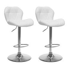 CorLiving Adjustable Mid Back Geometric White Faux Leather Barstool - Set of 2