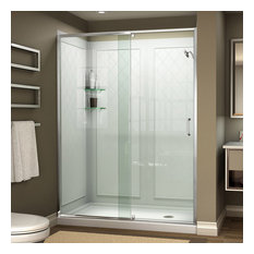 "DreamLine Flex 36""Dx48""Wx76.75""H Shower Door, Center Drain Base & Backwall Kit"