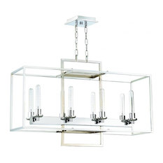 Cubic 8-Light Linear Chandelier, Chrome