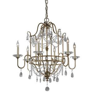 6-Light Chandelier, Gilded Silver