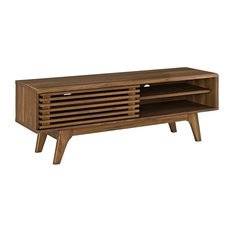 Beau Mid Century Low Profile TV Stand In Particleboard Enough Room For Any Device