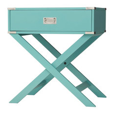 FASTF - Marine Green Turquoise 1-Drawer Modern End Table Nightstand - Nightstands and Bedside Tables