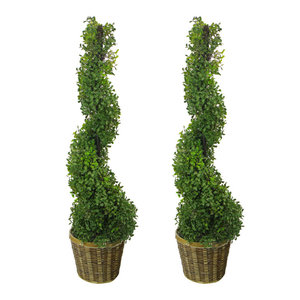 3' Artificial Boxwood Topiary Tree With Basket