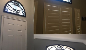 Shutters with Decorative Grilles on Specialty  Shaped Windows