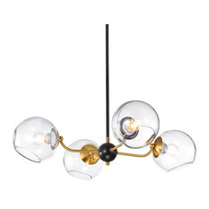 4-Light Sputnik Chandelier With Clear Globe Glass Shade Midcentury Modern