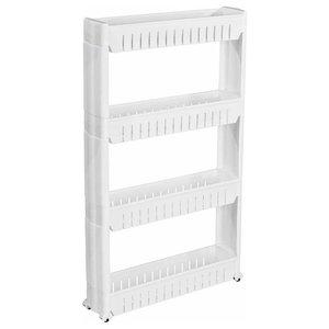 Modern Stylish Storage Trolley Cart, White Finish Plastic With 4 Open Shelves