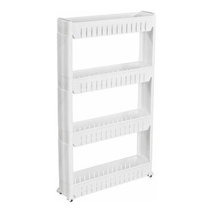 Modern Stylish Storage Trolley Cart, White Finish Plastic With 4 Open Shelves