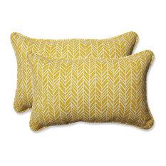 Out/Indoor Herringbone Rectangular Throw Pillow, Set of 2, Egg Yolk