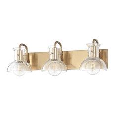 Riley Three Light Bath Light - Aged Brass Finish - Clear Glass