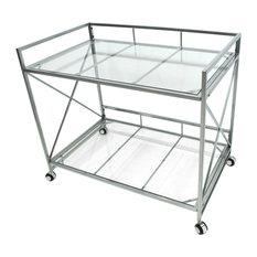 GDF Studio Danae Industrial Modern Iron and Glass Bar Cart, Silver