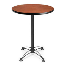 Ofm 30 Round Cafe H Table, Black Base, Cherry