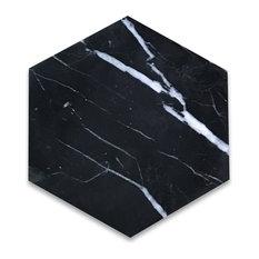 "6""x6"" Nero Marquina Black Marble Hexagon Tile Polished"