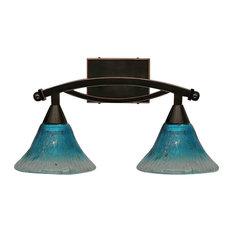 "Toltec Lighting Bow 2-Light Bath Bar, 7"" Teal Crystal Glass, Black Copper"