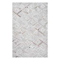 nuLOOM Handmade Leather Cowhide Chanda Area Rug, Gray, 8'x10'