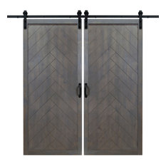 "36""x84"" Herringbone Double Sliding Barn Doors with Hardware Kit, Ash Gray"