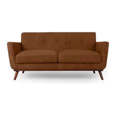 "Kardiel Jackie Mid-Century Modern 67"" Sofa, Full Grain Leather, Pecan"