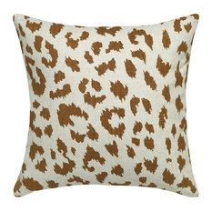 Cheetah Printed Linen Pillow With Feather-Down Insert, Caramel