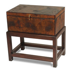 27-inch H Ambrosino Set Of Two Hand Box On Stand Wood Leather Antique Finish Side