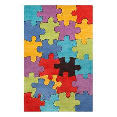 "Allie Jigsaw Puzzle Contemporary Area Rug, 5'x7'6"""