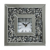 Square Mirrored Clock With Inlaid Diamond Style Crystal Frame, Silver