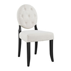 Button Dining Upholstered Fabric Side Chair, Beige
