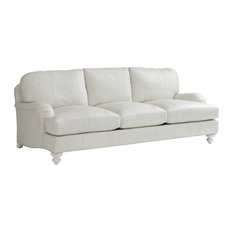 Tommy Bahama Ocean Breeze Gilmore Leather Arm Sofa In Off-White