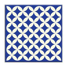 "6""x6"" Folksy Love Satin Decorative Tile, Needle Point Blue"