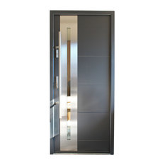 Ville Doors Stainless Steel Modern Exterior Door Gray Finish Right Hand Inswing