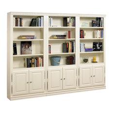 A E Wood Design Hampton Tall 3 Pc Bookcase Wall W Doors In Pearl